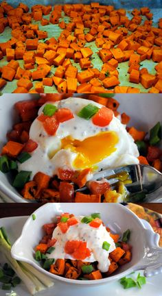 Poached Eggs with Roasted Sweet Potatoes and Honey Mustard Sauce