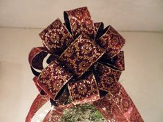 Large Christmas Tree topper burgundy with gold glitter design by creativelycarole on Etsy