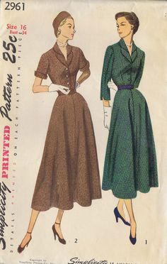 1940s VINTAGE DRESS SEWING PATTERN SIMPLICITY 2961 SIZE 16 BUST 34 HIP 37 UNCUT | eBay