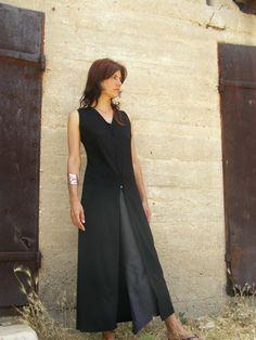 Maxi black tunic ZIP TUNIC Maxiwomens tunicWomens by SHIHAR, $169.00