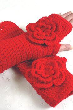 Stunning Crochet Rose Red Gloves Fingerless