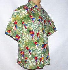 d48fdaa1872 Hummingbird Hawaii Jungle Macaw Parrot Head Parrots Hawaiian Aloha Shirt XL   Hummingbird  Hawaiian