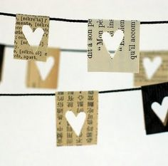 little paper hearts on a string.  sweet.