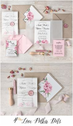 Watercolor floral pink wedding invitation - Delicate & Romantic #wedding #weddingideas #pink #romantic #watercolor #roses