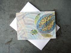 Turtle Art Greeting Card  Beach  Sea Art Note by PatWarwickTiles, $3.50