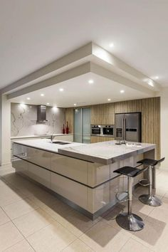 Modern and Contemporary Ceiling Design for Home Interior 41 Kitchen Ceiling Design, House Ceiling Design, Luxury Kitchen Design, Kitchen Room Design, Home Ceiling, Best Kitchen Designs, Home Decor Kitchen, Interior Design Kitchen, Interior Ideas