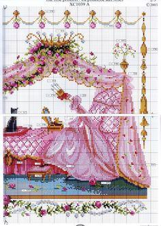 0 point de croix princesse aux roses et ses servantes - cross stitch roses princess with her servants, handmaids 3