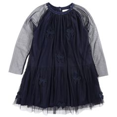 Navy blue tulle skirt with a fine cotton lining. Round neckline with a button at the back. Raglan long sleeves made of tulle fabric. Appliqué bows on the front. - $124,46