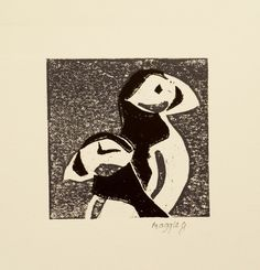 Puffin Print Black and White Puffin Art by PrintsByMaggieg on Etsy, £10.00