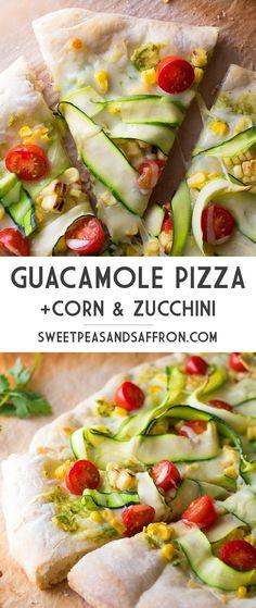 Guacamole Pizza with Corn & Guacamole | sweetpeasandsaffron.com @sweetpeasaffron