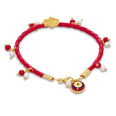"Glass Evil Eye with Charms Bracelet in Red Corded Leather - 7.5"" - - View All - PAGODA.COM"