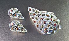 Rhinestone Brooch Earrings Set Pastel White by LynnHislopJewels