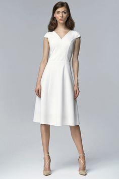 49b4e39bff56 Robe ecru elegante manches courtes femme col V NIfe tailles XS S M L XL