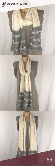 """~ Gray & Cream ~ Flared End ~ Crochet Scarf ~ Gray & Cream ~ Flared End ~ Crochet Scarf   No Tag with Brand or Material  Length ~ 83"""" Width ~ 7.5"""" Flare Ends ~ 16"""" Wide No Brand Accessories Scarves & Wraps"""