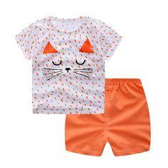 05add5a5d Toddler Baby Boys & Girls 2PCs Clothes Short Sleeve Cartoon Print Tops Shirt+Short  Pants Outfits Set