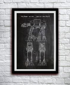 Star Wars - AT-AT Walker - Action Figure Toy - Patent Print Poster Wall Decor - 0008    Hang a piece of history in your Home, Office or Man Cave!
