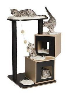 Vesper Cat Furniture, V-Double, Cat Scratching Posts, Cat Bed (Choose Color)… Vesper Cat Furniture, Modern Cat Furniture, Pet Furniture, Table Design Bois, Cat Towers, Cat Scratching Post, Cat Condo, Cat Room, Cat Accessories