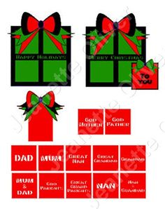 Christmas Present Toppers with 13 Interchangeable Relative Toppers SET 1 SVG Cutting File by CraftaholicCreation on Etsy
