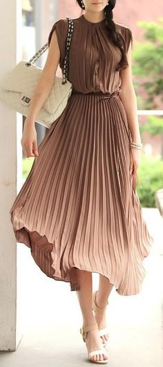 Taupe pleated maxi