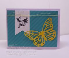 handmade card from Stamp A Latte ... card using Paper Pumpkin pieces ... blue, yellow, white ... lacy die cut butterfly ... Stampin' Up!