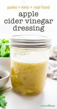 ACV Salad Dressing Apple Cider Vinegar Vinaigrette, made with unfiltered acv. Tastes great on every salad. Made with paleo and keto friendly ingredients. Perfect for everything from arugula to kale. For added sweetness, a smidge of real m Real Food Recipes, Diet Recipes, Healthy Recipes, Easy Recipes, Recipies, Paleo Salad Recipes, Vegan Keto Recipes, Pescatarian Recipes, Muffin Recipes