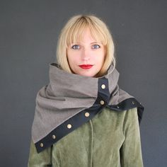 me likey - Gray cotton scarf with black leatherette and snaps, unisex scarf // cowl, large winter scarf