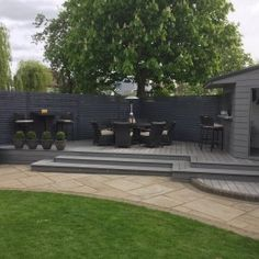 Rockwood WPC Decking makes a Good garden look Great as well as being Enviromentally Friendly and making use of Recycled Materials Back Garden Design, Patio Design, Diy Outdoor Bar, Outdoor Fire, Outdoor Living, Back Gardens, Outdoor Gardens, Hot Tub Patio, Gazebo On Deck