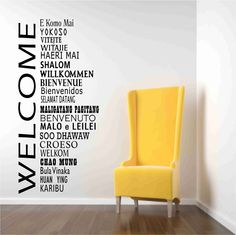 Welcome words in international languages Wall Decals. $40.00, via Etsy.