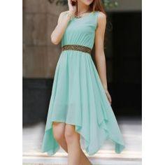 Stylish Jewel Neck Asymmetric Sleeveless Chiffon Dress For Women
