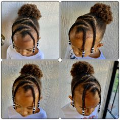 Toddler Hair style Braids in front, puff in the back … - Modern Little Girls Ponytail Hairstyles, Little Girl Ponytails, Little Girls Natural Hairstyles, Little Girl Braid Styles, Girls Hairdos, Baby Girl Hairstyles, Princess Hairstyles, Braided Hairstyles, Child Hairstyles