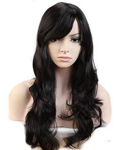 Heat Resistant Synthetic Wig Japanese Kanekalon Fiber 9 Colors Full Wig with Bangs Long Curly Wavy 23'' / 58cm   Stretchable Elastic Wig Net for Women Girls Lady Fashion and Beauty(Natural Black) -- Want additional info? Click on the image.