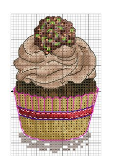 Cupcake Cross Stitch, Cross Stitch Fruit, Cross Stitch Kitchen, Cross Stitch Love, Modern Cross Stitch, Counted Cross Stitch Patterns, Cross Stitch Designs, Cross Stitch Embroidery, Minnie Baby