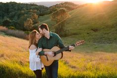 Beautiful Mount Diablo engagement session in Walnut Creek with a guitar - musician groom. // SimoneAnne.com