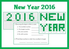 New Year activities including reflection, area and questions related to the digits in the new year.