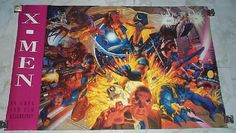 "This is a vintage original 1994 UNCANNY X-MEN 34 x 22 inch MARVEL PRESS POSTER #174, using the EXACT SAME IMAGE for the Fleer Ultra trading card set team ""portrait"". This '94 Marvel Comics Universe poster features painted artwork by brothers Tim and Greg Hildebrandt, and it's Marvel Press poster number 174. SHOWN ARE mutant heroes like Wolverine, Sabertooth, Bishop, Professor X, the Beast, Rogue, GAMBIT, Archangel (the Angel), Jean Grey (Marvel Girl), Storm, Psylocke, Iceman, and Cyclops."