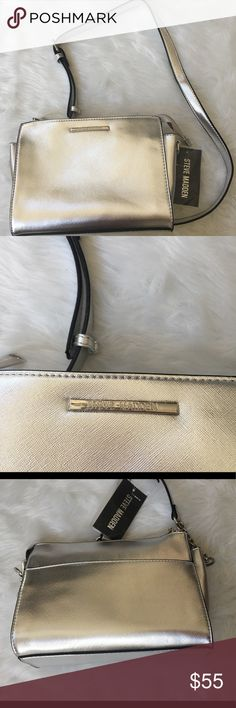 🆕Steve Madden Metallic Silver Purse Brand new with tags - such a great size and style | please pay attention to photos regarding condition | Silver hardware Bags