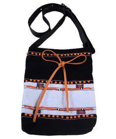 Rengma  traditional motifs handwoven and leather bag