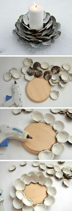 ▷ inspiring ideas + some detailed instructions on how to make tea lights - wooden base, lots of shells, hot glue gun – it really doesn& take much for a very personal - Seashell Crafts, Beach Crafts, Flower Crafts, Crafts To Make, Diy Crafts, Glue Gun Crafts, Creation Deco, Shell Art, How To Make Tea