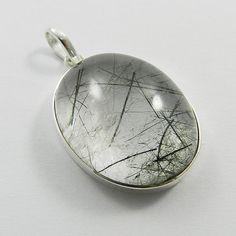 Bright Black Rutile gemstone 925 sterling silver simple design pendant jewellery #Handmade #Pendant