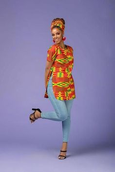 The Rowan Top is stunning in the Colorful African Print. It's comfy to wear and will make sure you stand out in a crowd African Print Clothing, African Print Dresses, African Fashion Dresses, African Dress, Fashion Outfits, Fashion Ideas, African Outfits, African Prints, Fashion Styles