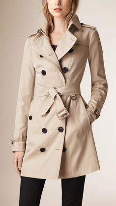 c5a6248590 Love this: Cotton-Gabardine Trench Coat @Lyst Khaki Trench Coat, Burberry  Trench