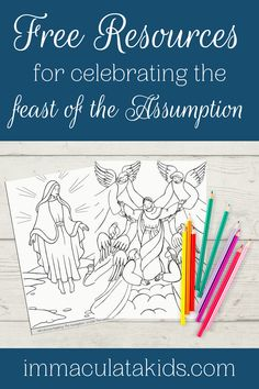 FREE resources for celebrating the feast of the Assumption on August 15.  #freeresources #homeschoolresources #freeprintables #free #homeschool #printables #coloringpages #feastdays #celebratingfeastdays #feastdayresources #catholic #assumptionofmary #assumption #blessedvirginmary #mary #mothermary #marianfeastdays #gloriousmysteries #raisingcatholics #immaculatakids Assumption Of Mary, Liturgical Seasons, August 15, Blessed Virgin Mary, Mother Mary, Sunday School, Free Printables, Coloring Pages, Catholic