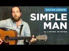 "Guitar lesson for ""Simple Man"" by Lynyrd Skynyrd (acoustic w/ chords) Best Acoustic Guitar, Acoustic Guitar Lessons, Guitar Tips, Guitar Chords, Acoustic Guitars, Music Guitar, Classical Guitar Lessons, Basic Guitar Lessons, Guitar Lessons For Beginners"