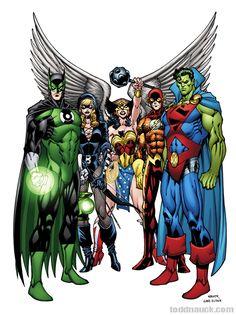 Earth JLA - Batman/Green Lantern (Emerald Knight), Black Canary/Green Arrow (Black Arrow), Hawk Girl/Wonder Woman (Winged Wonder), Aqua Man/Flash (Slipstream) and Superman/Martian Manhunter (Stranger) by Todd Nauck Marvel Dc Comics, Dc Comics Art, Marvel Vs, Dc Heroes, Comic Book Heroes, Comic Books Art, Comic Art, Geeks, Gi Joe