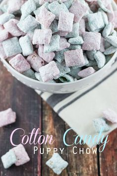 Simple Cotton Candy Puppy Chow via sweetasacookie.com