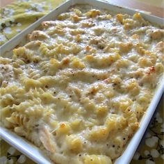 Baked Cheesy Chicken Pasta - use Swiss, cheddar, add onions, mustard or horseradish, add green peppers, mushrooms