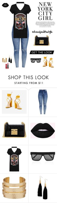 """NYC GIRL"" by kassiaalves ❤ liked on Polyvore featuring Gucci, H&M, WearAll, Victoria Beckham, Ink + Alloy and Max Factor"