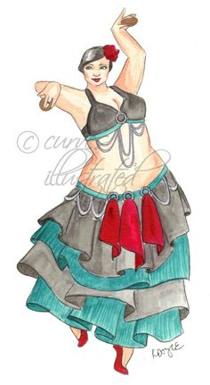 Aymelek Plus Size Fashion Illustration Print by CurvesIllustrated, $15.00