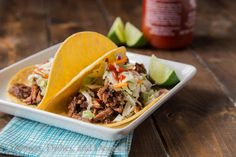 Slow Cooker Korean Beef Tacos {Dinners, Dishes, and Desserts}