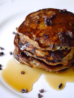 Whole Wheat Cocoa Nib Pancakes made with banana and Greek yogurt- so delicious and antioxidant packed!